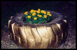 Golden Tire Planter